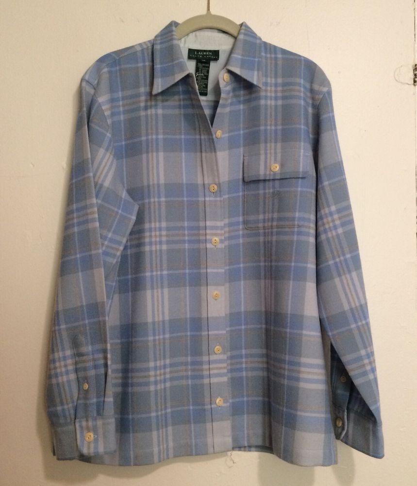7504ba7e Lauren Ralph Lauren Women's Wool Shirt Size M Light Blue Plaid Button Front  LS #LaurenRalphLauren #ButtonDownShirt