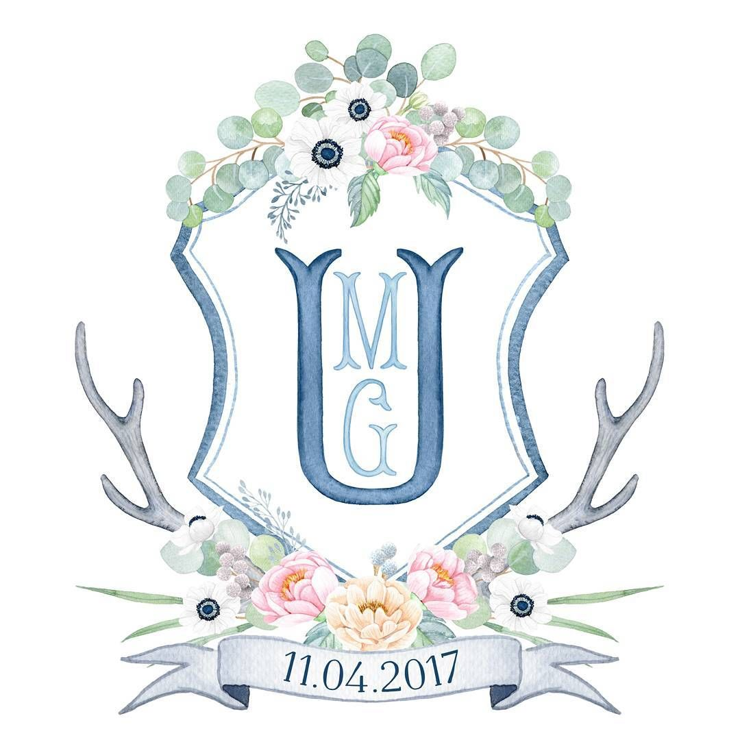 Custom Hand Painted Watercolor Wedding Crest With Flowers