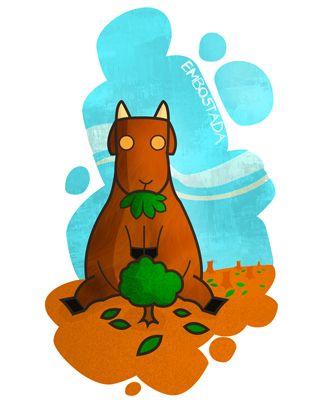Embostada: Harta de comida, comer hasta la saciedad. Ej: Cabra se embostó a comiendo hierba.