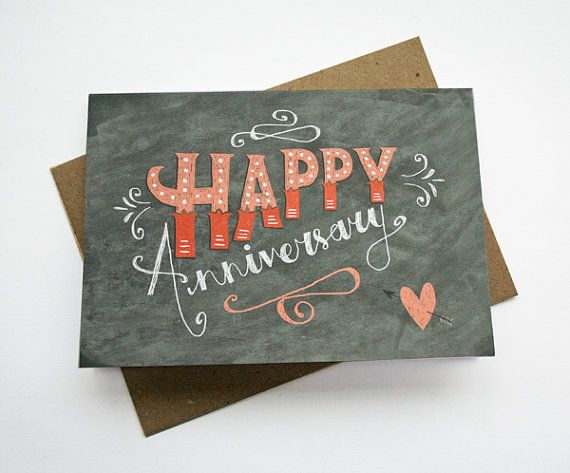 Happy anniversary card chalkboard hand lettering typography