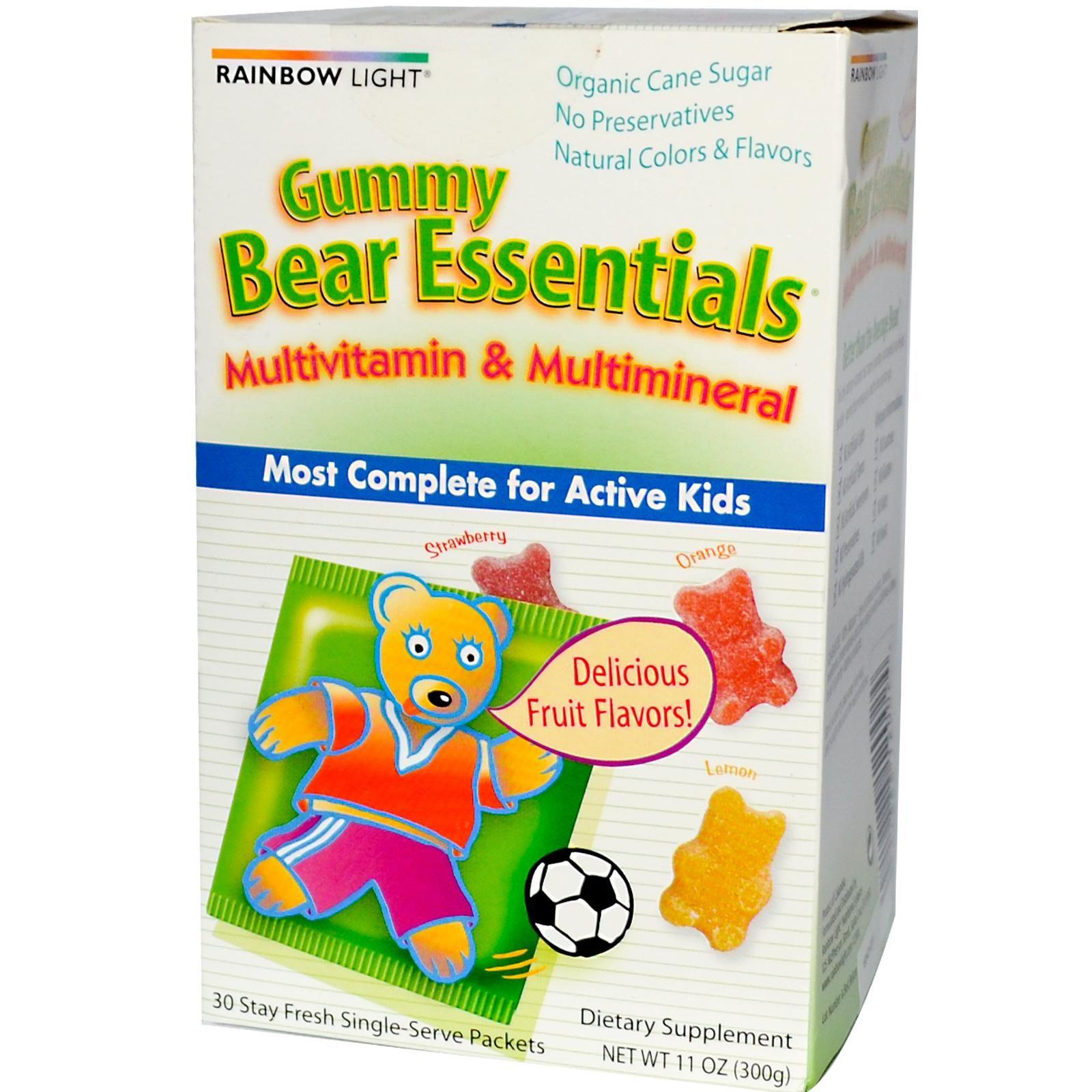 Rainbow Light Bear Essentials Multivitamin Multimineral Gummies Wellness Gummy Kids 30 Strawberry Orange Lemon Flavors 3 Per Packet 90