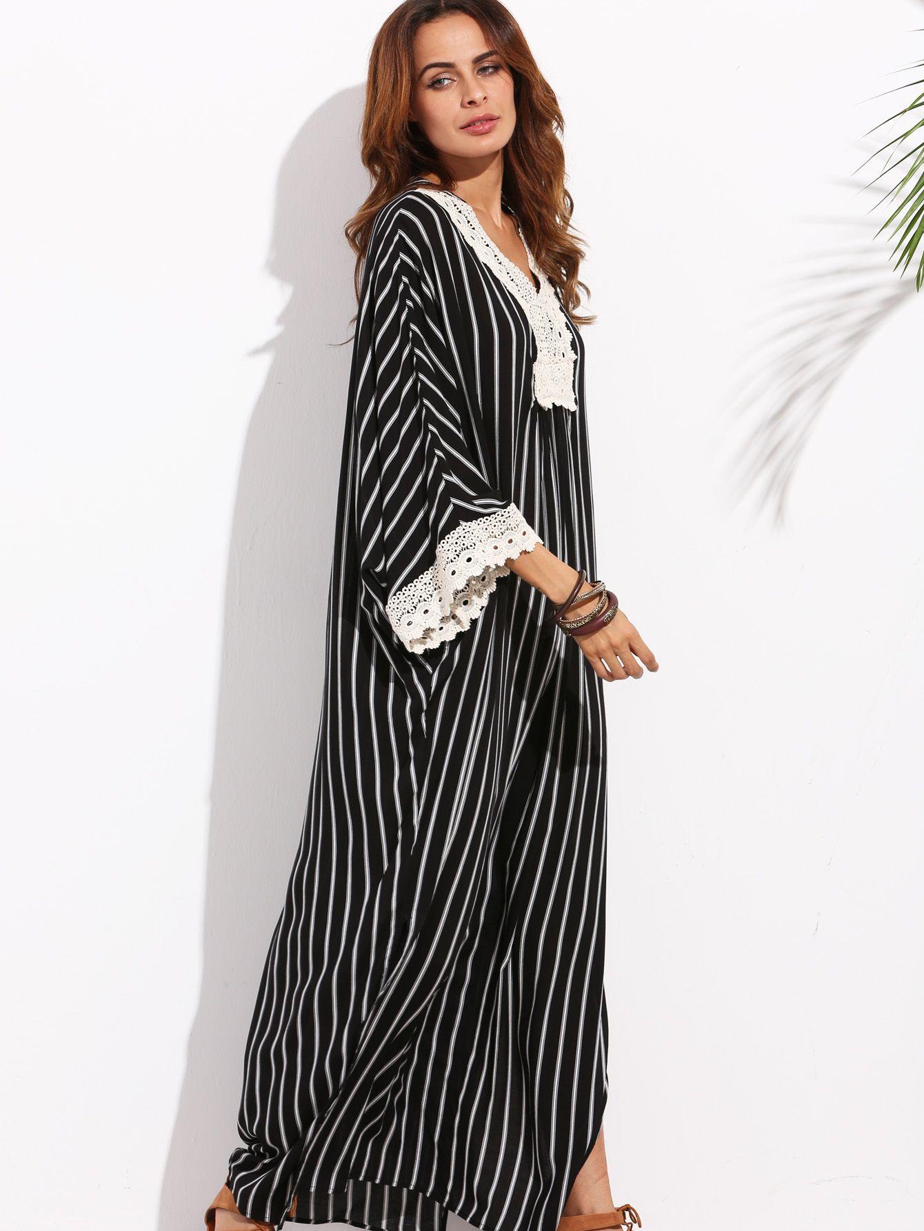 Robe longue à rayures col V avec appliques - noir blanc