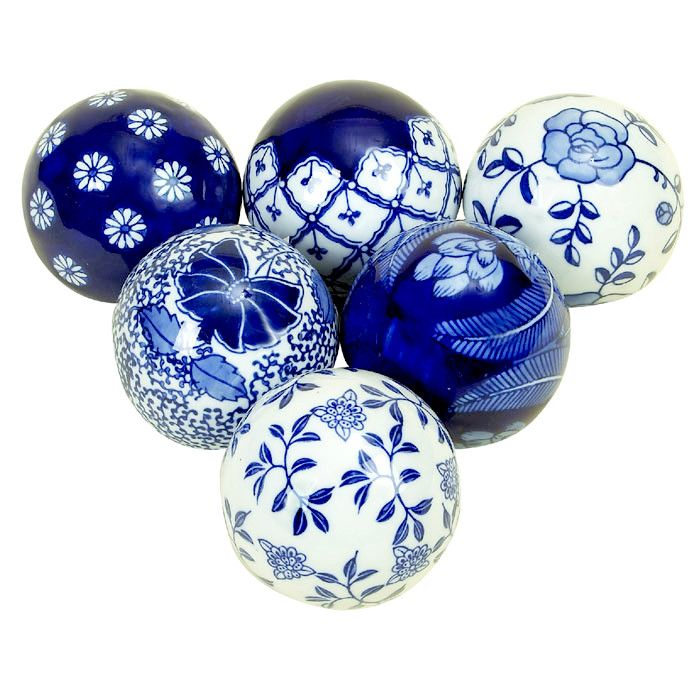 6 Piece Bleu Decorative Ball Set