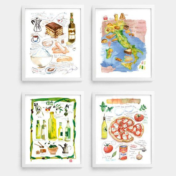 Italian Food Prints Set Of 4 Posters Colorful Kitchen Decor