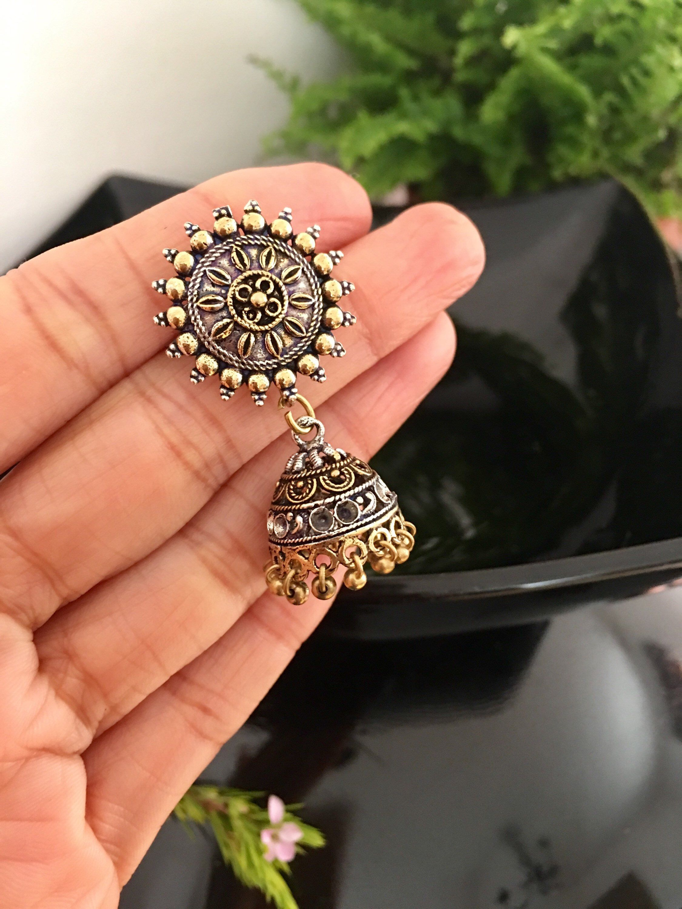 5356a21e8 Round Indian Traditional Silver Jhumka Earrings, Ethnic Indian Drop ...