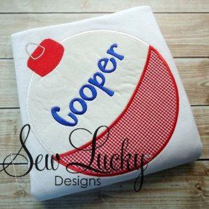 Fishing Bobber applique design - machine embroidery design- Many formats - INSTANT DOWNLOAD