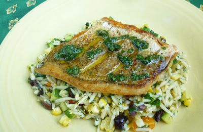 For Love of the Table: Crispy Red Snapper with Salsa Verde and an Orzo Salad with Summer Vegetables
