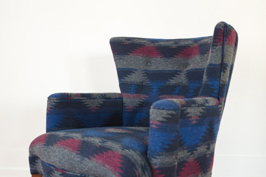 HS Collection Barrel Back Chair - Navy, Raspberry, Grey Wool