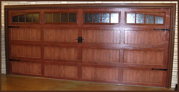 Awesome CHI Model 5916 Dark Oak Accent, Carriage House Style Garage Door With The  Look Of Wood With Optional Windows U0026 Decorative Hardware.