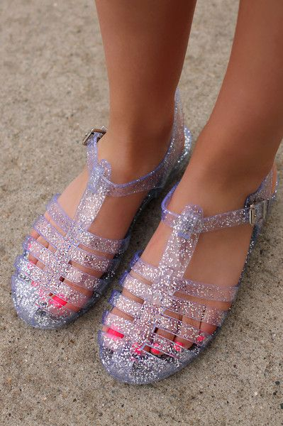 b1b4bbf7afe1 Clear Glitter Jelly Caged Sandals