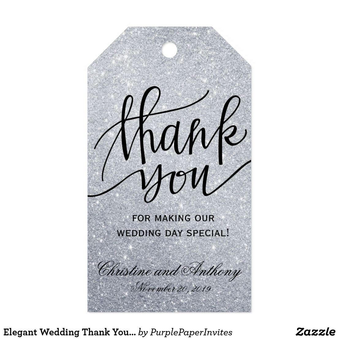 Elegant Wedding Thank You Favor Tags Silver Lights   Favors, Wedding ...