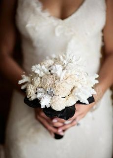 Black Satin Ribbon Wedding Bouquet With White Peonies And Coral