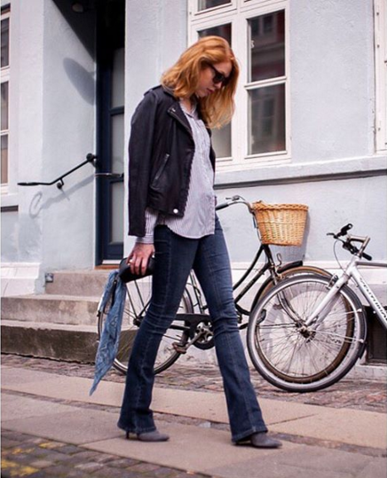 Blogger and Fashion Coordinator at ELLE Denmark, #MariaJernov rocking the streets of Copenhagen in her #Pieszak Marija Flare Jeans