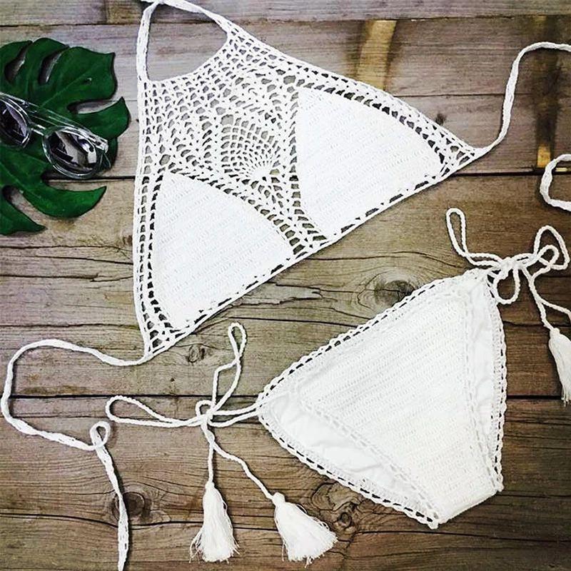 Summer Boho Women 2016 Crochet Bikini Set Brazilian Low Waist Handmade Cotton Swimwear Halter Beach Bathing Suit