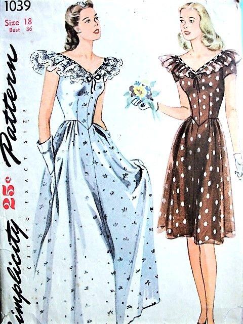 1940s BEAUTIFUL Evening Party Dress Pattern SIMPLICITY 1039 Figure ...