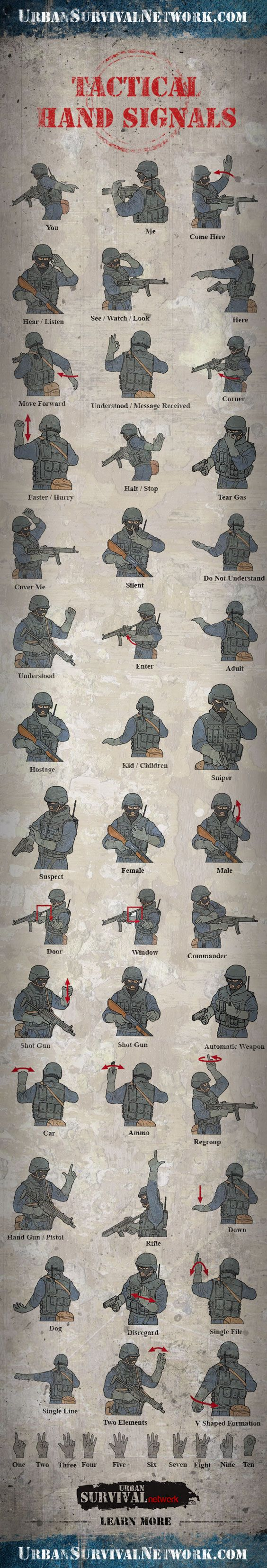 Tactical Hand Signals. Whether you use these or you see them being used, you will know what the next move is.