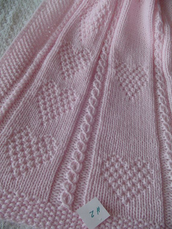 Baby Blanket 2 Pink Pink Baby Blanket Hand Knit Baby Afghan