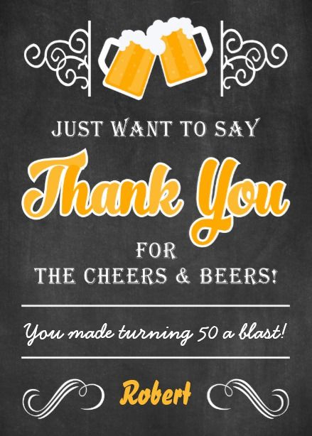 Cheers And Beers 50th Birthday Thank You Card 50th Birthday