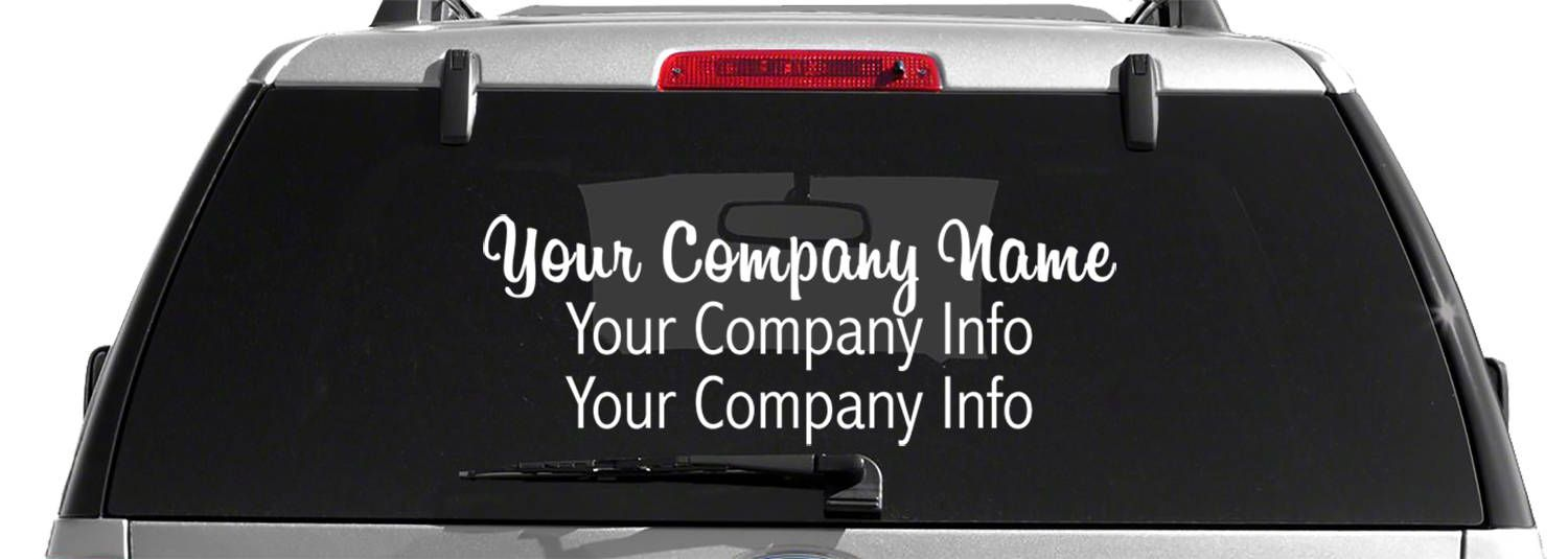Design Your Own 3 Line Custom Business Back Glass Decal Etsy Glass Decals Window Decals For Business Custom Window Decals