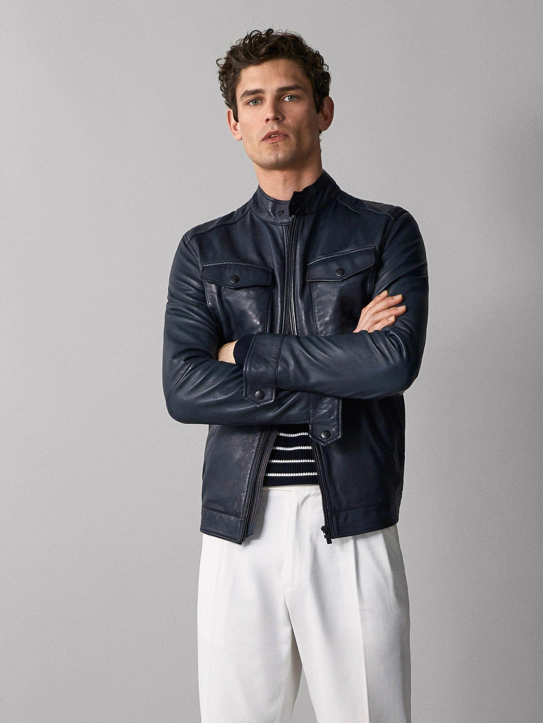 Navy Blue Nappa Jacket With Pockets Men Massimo Dutti Leatherjacketsformengrey Jackets Leather Jacket Men Leather Jacket [ 2532 x 1900 Pixel ]