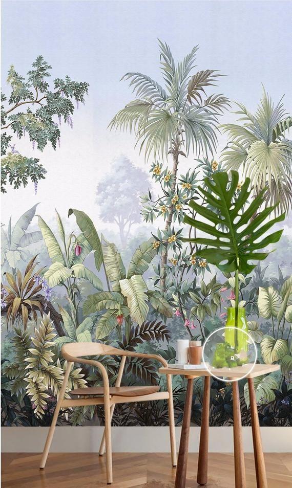 Retro Reminiscent Tropical Rainforest Wallpaper Wall Mural
