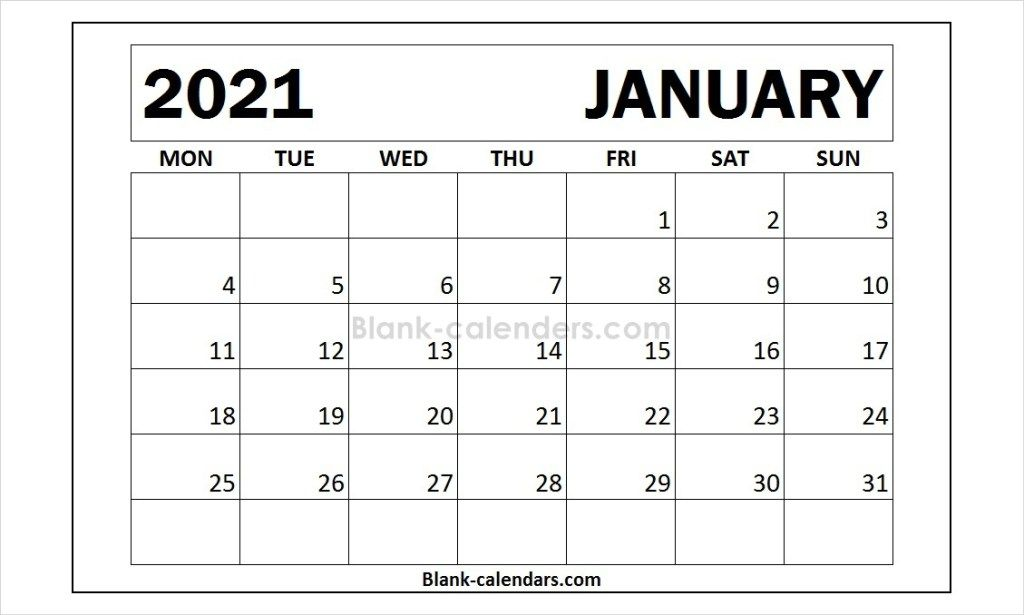 Month Of January 2021 Calendar Template Calendar Template 2021 Calendar Words