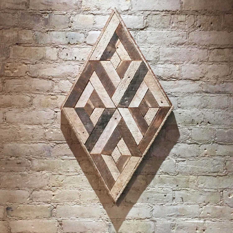 Reclaimed Wood Wall Art 3D Geometric, Diamond, Chevron, Pattern By