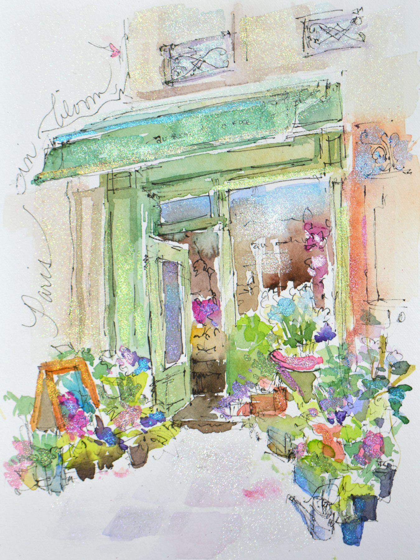 Paris Flower Shop Dreama Tolle Perry Art Watercolor Art