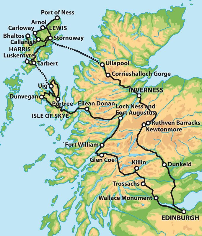 Private 6 Day Tour The Outer Hebrides And Isle Of Skye Map Scotland Tours Scotland Map Scotland Travel
