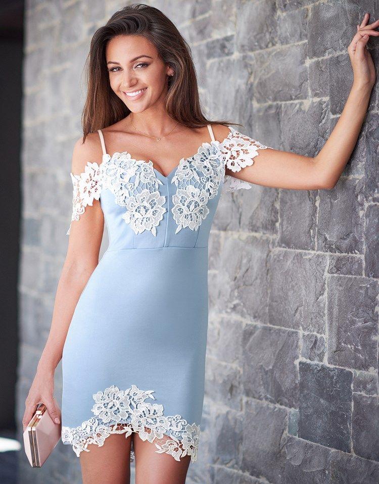 Lipsy Love Michelle Keegan Lace Bardot Dress  71f9f255b