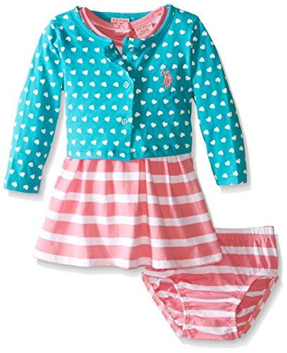 U S Polo Assn Girls Hearts And Stripes Baby Doll Dress And Cropped