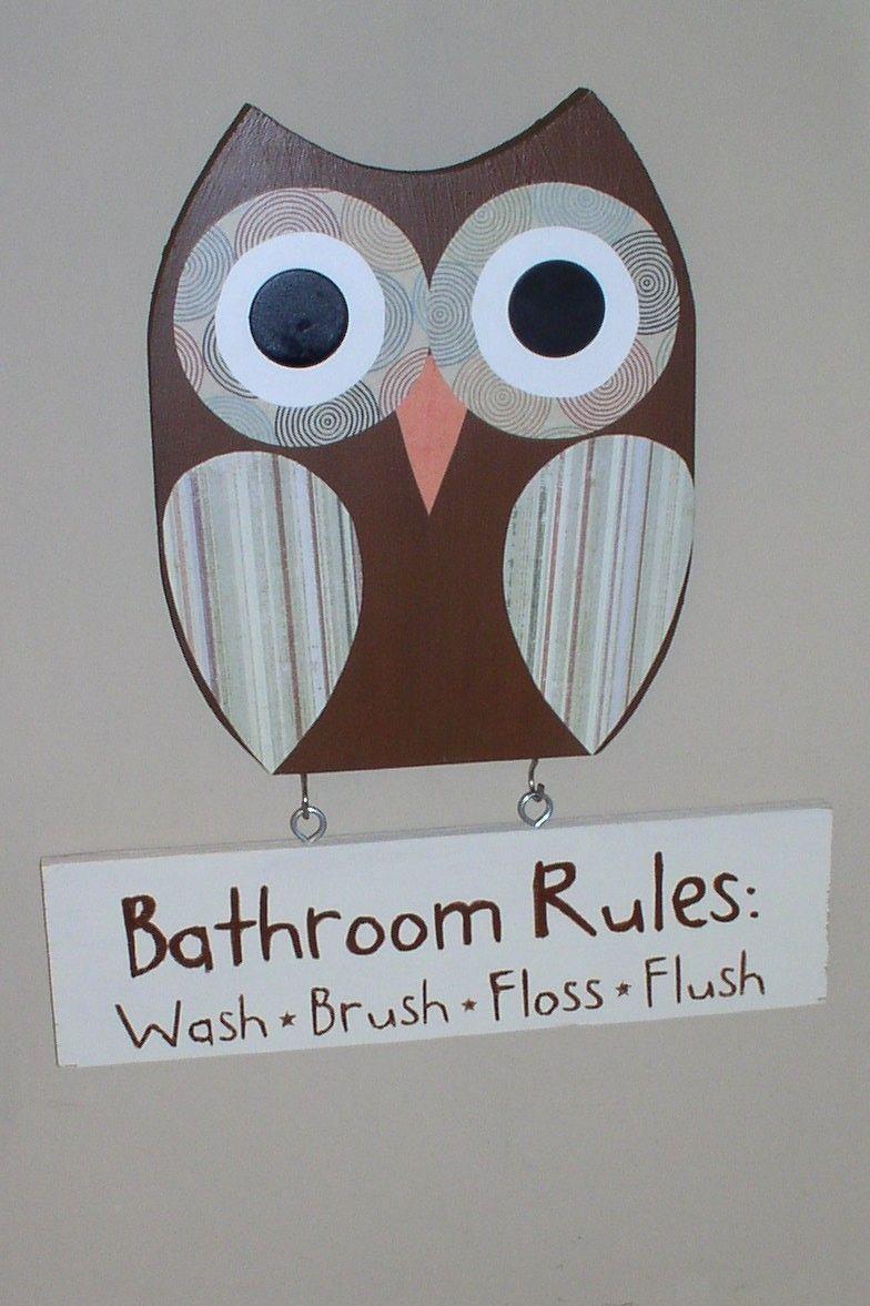 Owl Bathroom Decor Bathroom Rules Sign Wooden Owl Decor