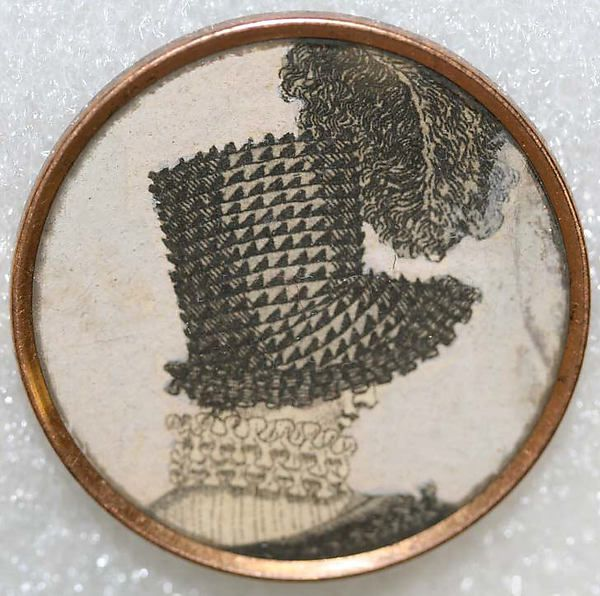 ca 1790 button with image (possibly on paper) under glass and set in metal. French