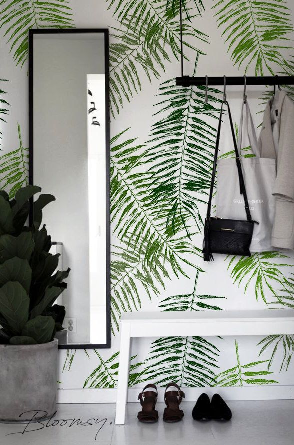 Removable Wallpaper Palm Leafs Wallpaper Temporary Etsy Temporary Wallpaper Palm Leaf Wallpaper Removable Wallpaper