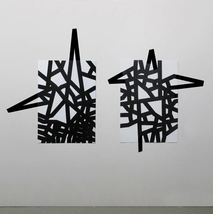 Carlo Colli - Recompose White 1H16M + 1H14M, 2016, pittura bianca strappata su carta e nastro americano nero, 100x70cm. ciascuno, (installazione dimensioni variabili) www.carlocolli.blogspot.com