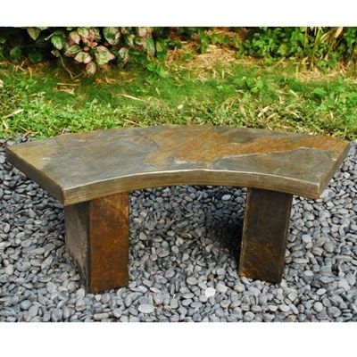 Amazing Curved Outdoor Bench Curved Slate Bench Japanese Garden Gmtry Best Dining Table And Chair Ideas Images Gmtryco