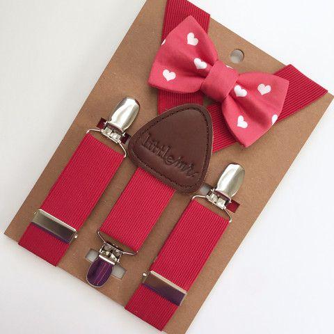 Red Suspenders w/Valentine Hearts Bow Tie