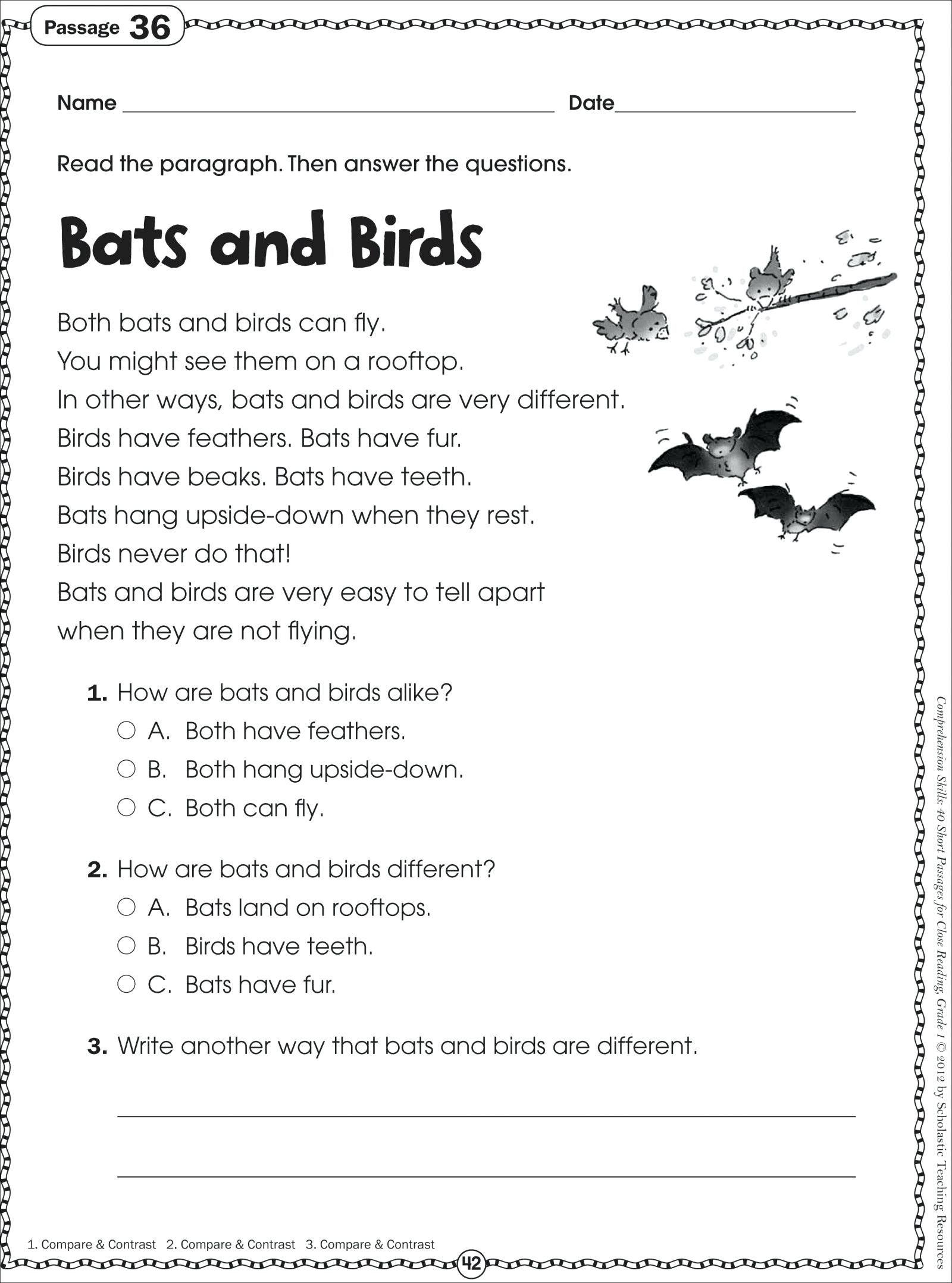 Reading Comprehension Worksheets First Grade 1 In
