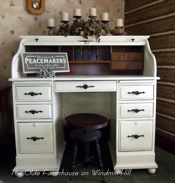 Now That Rolltop Desk Is Beautiful Again!  The Olde Farmhouse On Windmill  Hill: Desk Makeover~How To Update An Oak Rolltop Desk