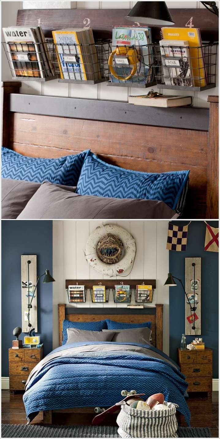 Boy Bedroom Storage: Hang Storage Baskets Above Headboard