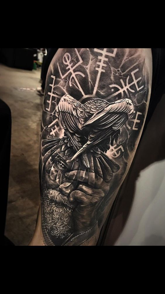 Odin, lead me there – Nordic and Celtic back tattoo – #there #fuhre #mich #Odin #tattooarm