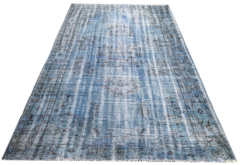 Vintage Blue Rug Distressed Handmade Carpet Antique Overdyed