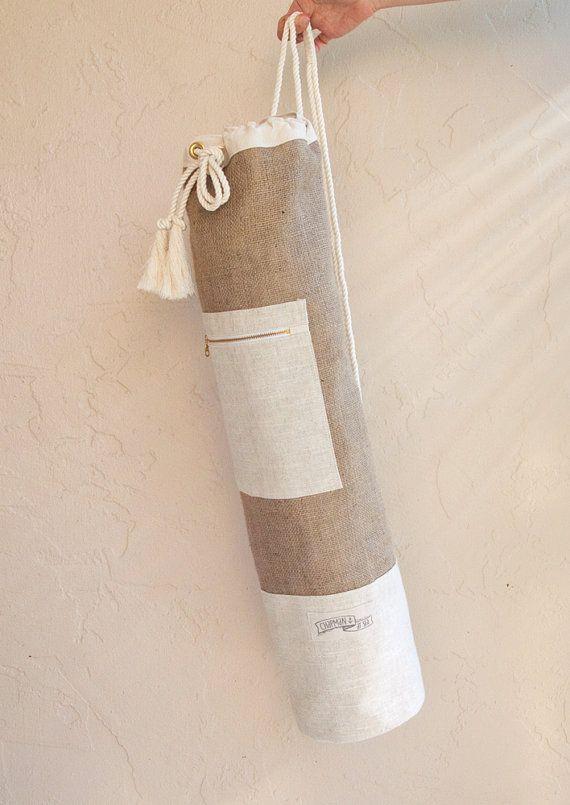 Natural Jute Linen Yoga Mat Bag Minimalist Oversized Yoga Bag Sailor Bag Simple And Clean Yoga Accesorios Para Yoga Bolsa De Estera De Yoga Bolsa De Yoga