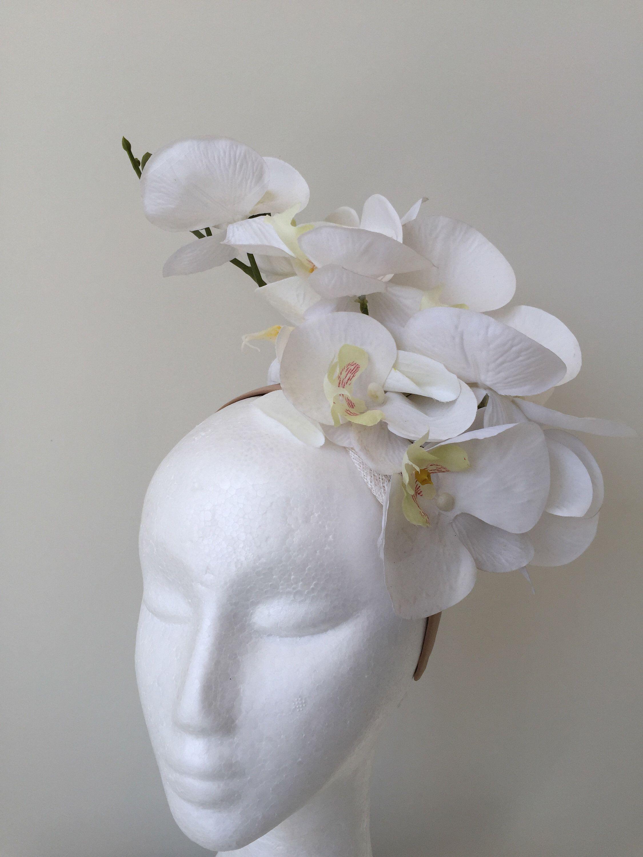 Beautiful Ivory Red Black Orchid Fascinator Flower on a Satin Headband