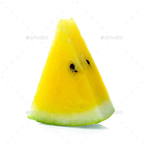 yellow watermelon on white background by sommai. yellow watermelon on white background