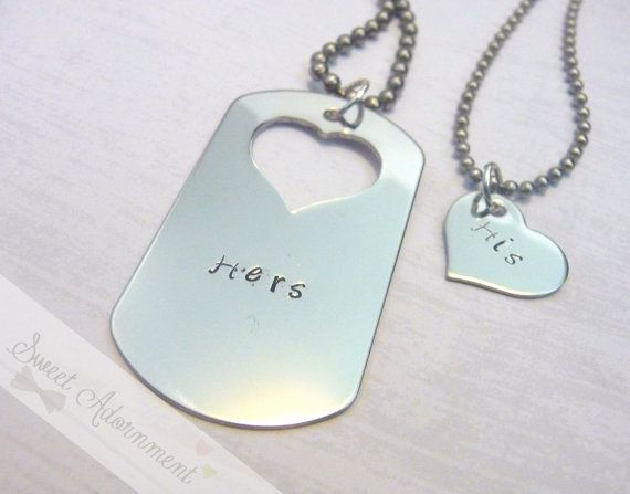 Hand Stamped His And Hers Dog Tag Heart Necklace Couples