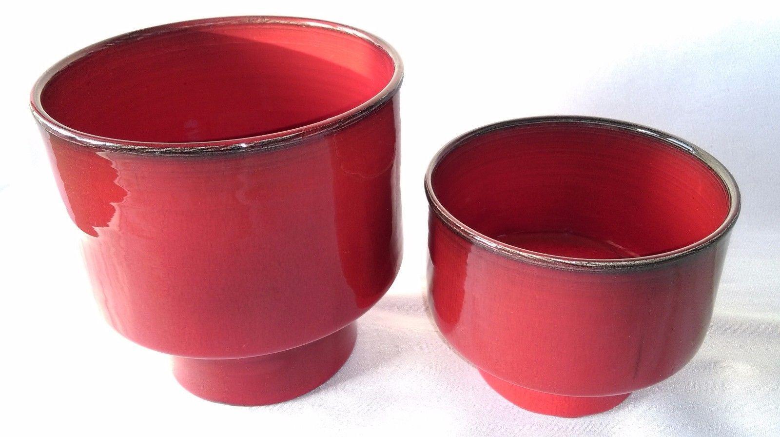 Details Sur 2 Pots En Ceramique 50 Superbe Email Rouge Signature Sous La Base A Identifier Pots En Ceramique Ceramique Et Pots
