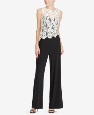 0da9e0242f Lauren Ralph Lauren Petite Lace-Trim Jumpsuit - Black  White 14P ...