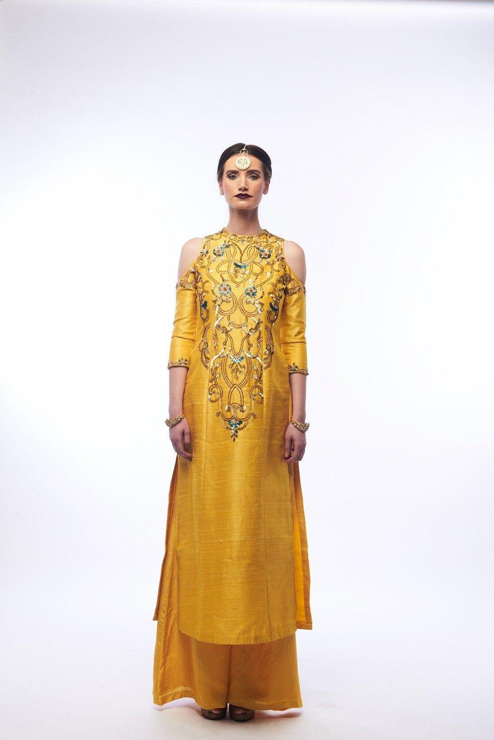 eb00229b01d Amber Yellow Kurta And Palazzos