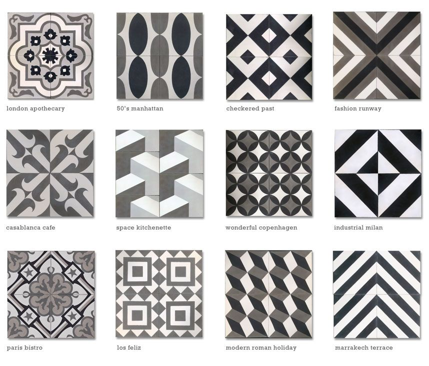 Moroccan tile encaustic cement tile black white grey for Kinderzimmer 6m2